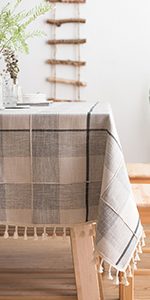 Embroidery Checkered Tablecloth
