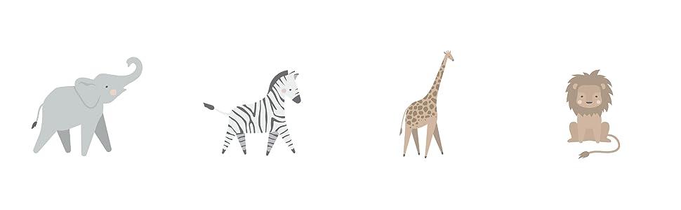elephant zebra giraffe lion jungle