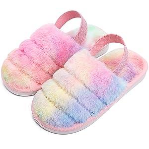 Kids Infant Children Girls Fur Slip On Fluffy Slider Slippers Shoes Size 8-11.5