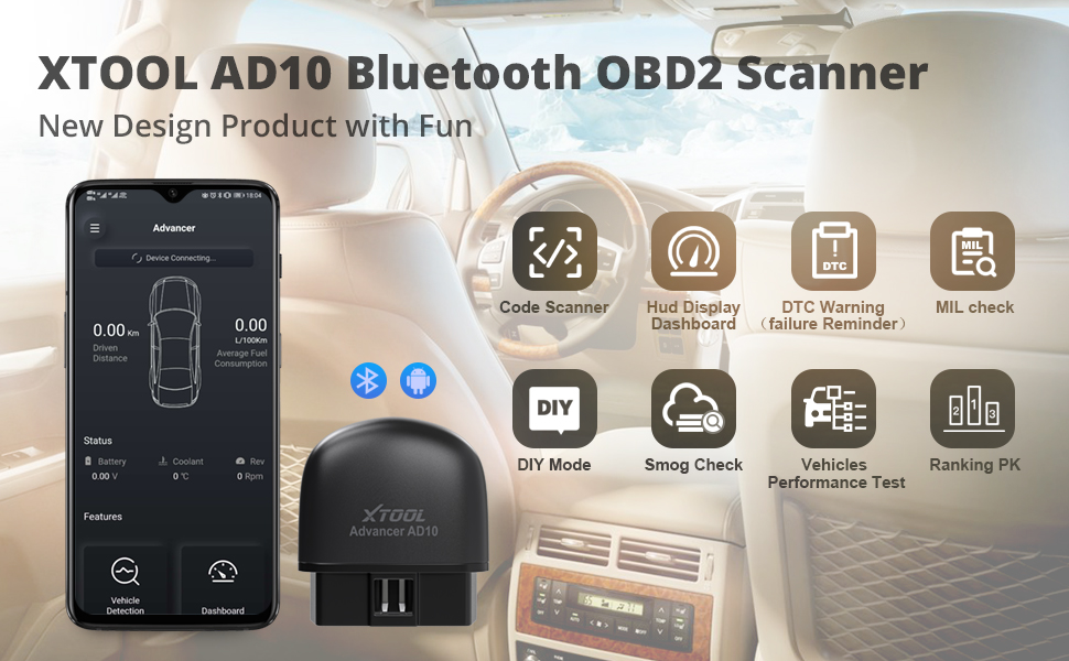 XTOOL Bluetooth OBD2 Code Scanner AD10 ELM327 Detect Vehicle Check Engine Light Scanner for Android and IOS Device