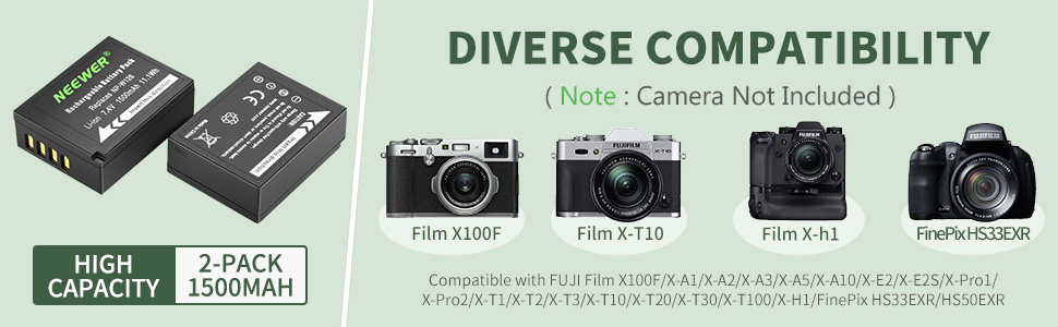 X-Pro2 X-T20 2x Batería para Fuji Fujifilm X100F