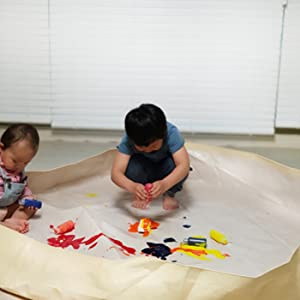 Double-Sided and Durable Infants and Kids Play Yard 59x59x7.9 Ivory and Gray Safe BLUETREE Sensory and Messy Play Mat for Toddlers Waterproof