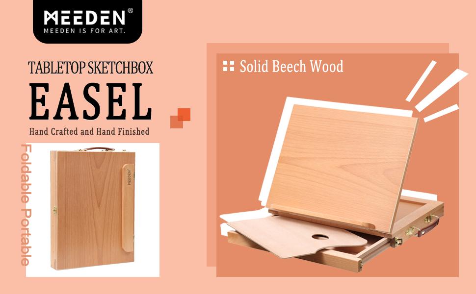 Art Students /& Beginners MEEDEN Large Adjustable Artist Tabletop Sketchbox Easel Multi-Function Solid Beech Wood Storage Box Easel with 3-Drawer for Artist