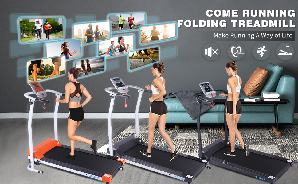 Orange/Silver/Black home folding treadmill