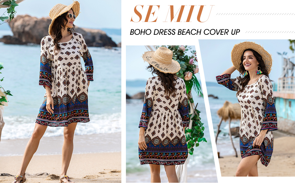 SE MIU Women Christmas Bohemian Ethnic Print Long Sleeve Top Tunic Dress
