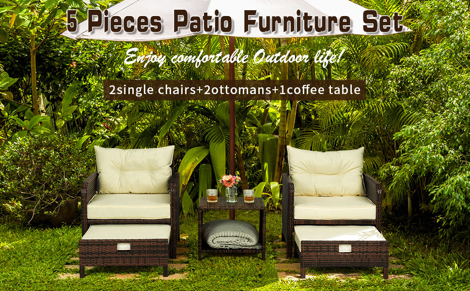 Patio furniture with ottoman