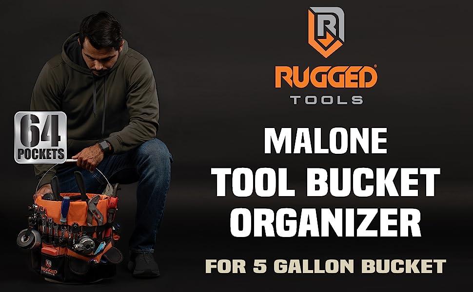 Rugged Tools 64 Pocket Tool Bucket Organizer for 5 gallon buckets - Tool bag - lots of pockets