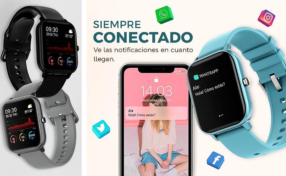 P8, BINDEN, Smartwatch, Smartwatchp8, Reloj inteligente, Notificaciones, Conectado