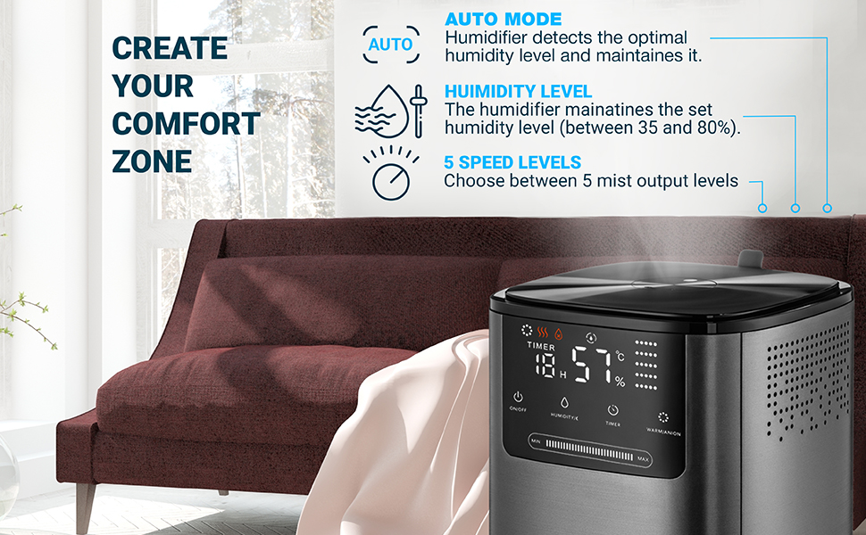 Ultrasonic Cool & Warm Mist Humidifier - Top-Filling - Whisper Quiet Humidifier for Bedroom