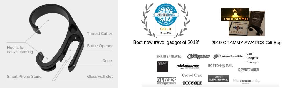 Steam clip steamclip travel hotel iron steamer hanger luggage multitool grammy bag wrinkles hotel