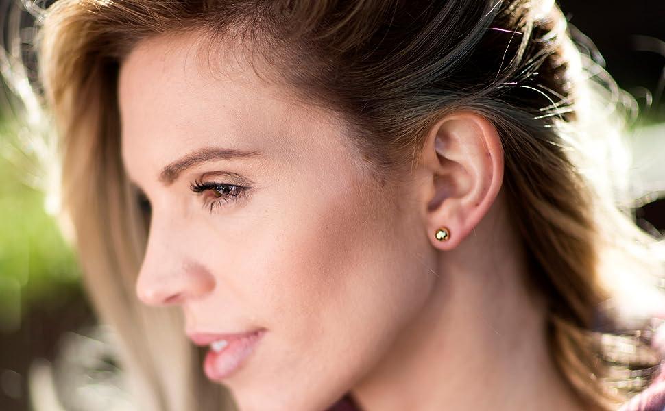 Gold stud earrings,eye earrings-24k gold plated-Qty 2