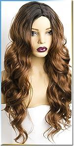brown wig wavy