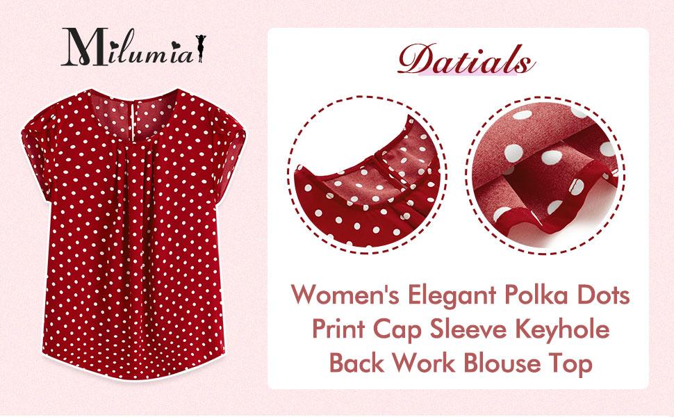 Milumia Women's Casual Polka Dots Print Cap Sleeve Keyhole Back Work Blouse Top