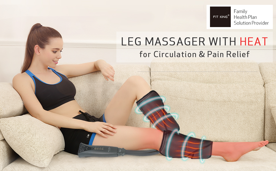 FIT KING Leg Air Massager with Heat for Circulation & Pain Relief
