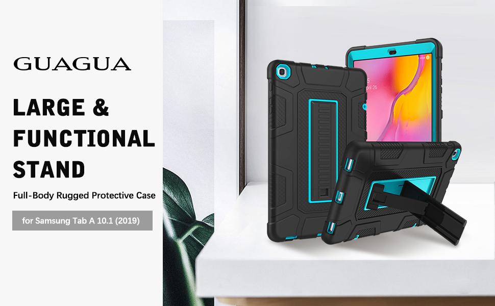 Coque pour Samsung Galaxy Tab A 10.1 10.1 Coque GUAGUA 2019 Béquille 3 en 1 hybride rigide robuste et résistante aux chocs et anti-rayures pour ...