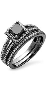 Halo Engagement Ring Set