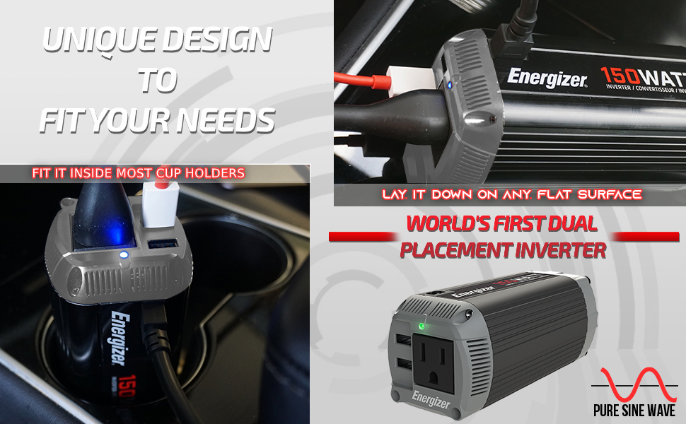 Watts Power Inverter 12V to 110V Modified Sine Wave Car Inverter DC to AC Converter USB Ports QC 3.0