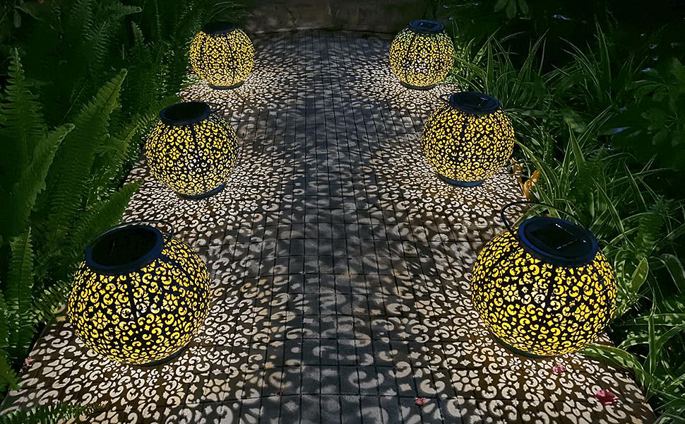 5 metal solar power lanterns outdoor