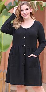 Nemidor Women's Long Sleeve Casual Button Down Midi Loose Dress Plus Size Babydoll Tunic Dress