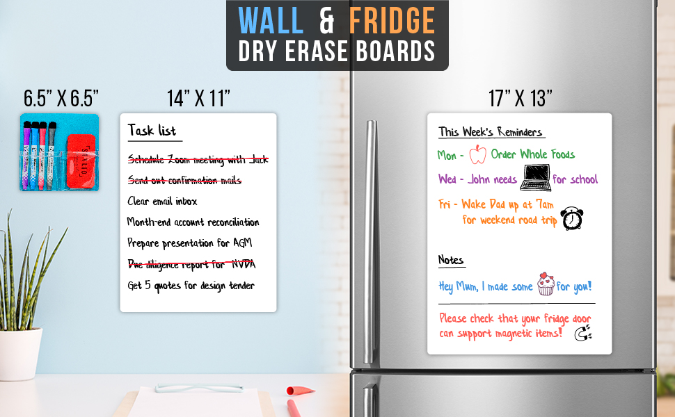 white board dry erase board for wall refridgerator magnets magnetic board work from home accessories