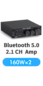 Bluetooth 5.0 Stereo Amplifier 2.1 Channel Class D Audio Power Receiver Amp Subwoofer Frequency