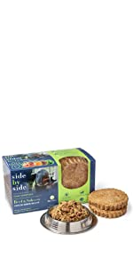 beef, salmon, freeze dried, dog food, pet food, side by side, natural, ingredients, made in USA,