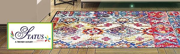 Status 3 x 5 Feet Multi Printed Vintage Persian Carpet Rug Runner for Bedroom/Living Area/Home