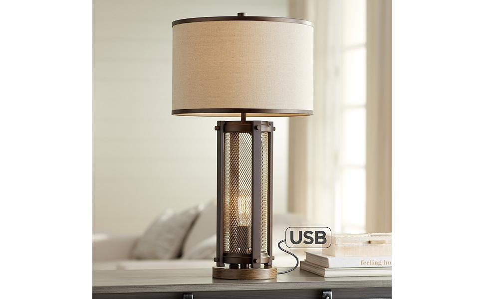 Otto Industrial Farmhouse Table Lamp With Usb Charging Port And Nightlight Antique Led Edison Bulb Antique Brass White Drum Shade For Living Room Bedroom Bedside Nightstand Franklin Iron Works Amazon Com