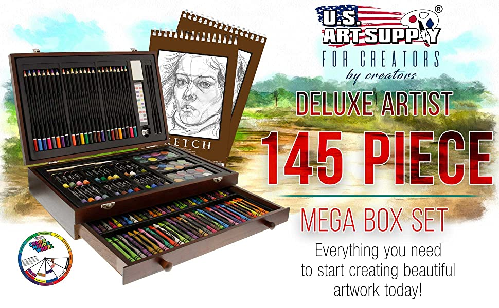 U.S. Art Supply Art Activity Artist Drawing Sketching Watercolor Pencil Set