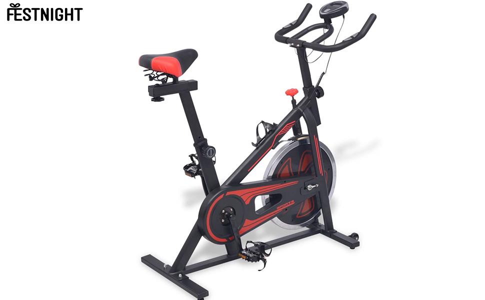 Festnight Bicicleta de Spinning con Sensores Negra y roja: Amazon.es: Hogar