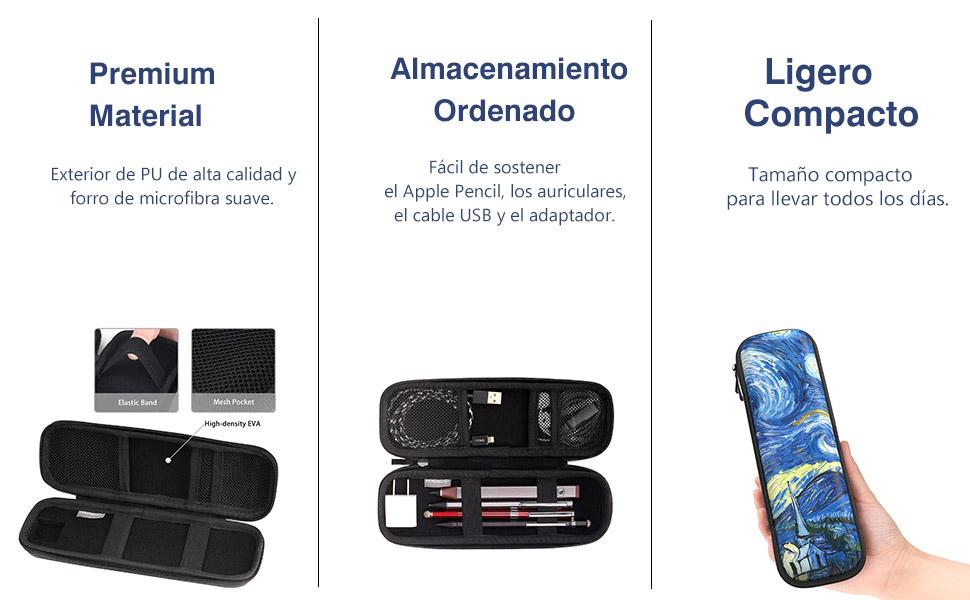MoKo Funda Compatible con Apple Pencil, PU Bolsa de Transporte Portada Estuche Protector para New iPad 10.2 2019/iPad Air (3rd Gen) 10.5