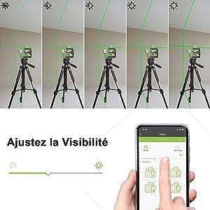 Réglage de la visibilité: ¡ñLa visibilité / luminosité du faisceau laser peut être ajustée en se connectant à l'application Huepar. ¡ñFaites glisser la barre de luminosité sur la luminosité dont vous avez besoin. ¡ñLa fonction de réglage de la luminosité n'est pas applicable après l'activation du mode impulsion.