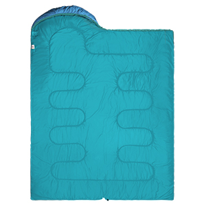 The sleeping bag can be fully opened and used as a quilt