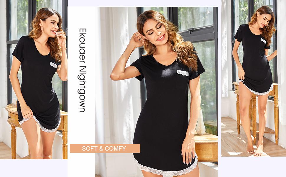 Nachthemd Damen Sexy Nachtshirt Kurzarm Pyjama Sleepshirt Kurz nightshirt Nachthemd Damen Sexy