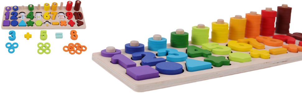 numbers puzzle montesori Montessori montessory toy toys color counting math autism wood sorting toy