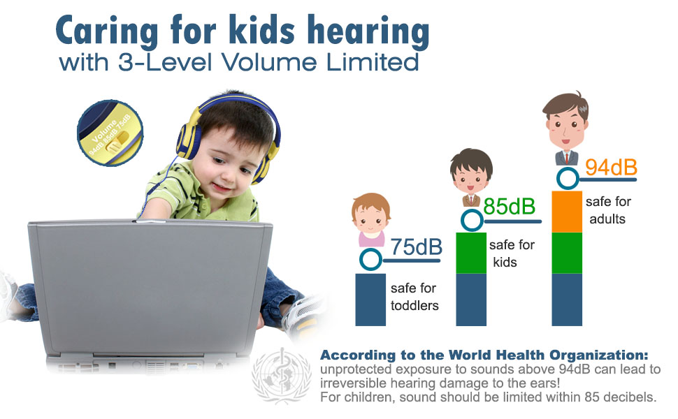 kids headphone with 3 level volume limit