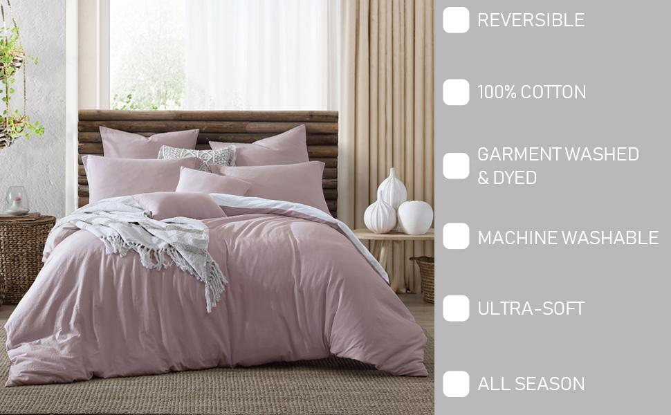 Valatie 100% Cotton Garment Washed & Dyed Reversible Duvet Cover Set