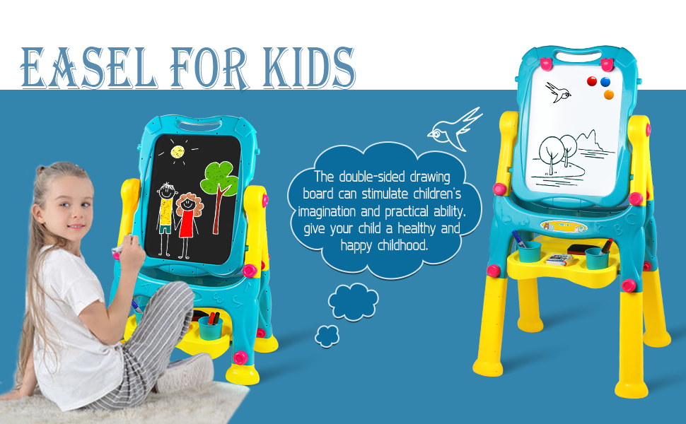 easel for kids - Tomons Art Easel For Kids, Double-Sided Magnetic Dry Erase Board And Chalk Board Adjustable Standing Kids Easel For Toddlers Boys And Girls