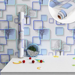 Wallpaper with green and blue circles self adhesive peel and stick wall mural For Kids