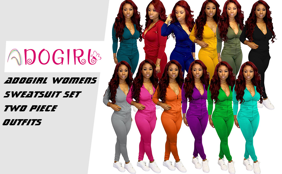 Adogirl Womens Sweatsuit Set Two Piece Outfits Top Skinny Long Pants Tracksuits Jogging Suits Jumpsuits