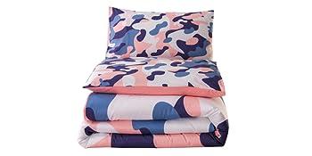 coral pink camo bedding set