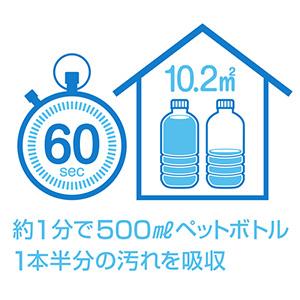 ペットボトル1.5本分の汚れを吸収
