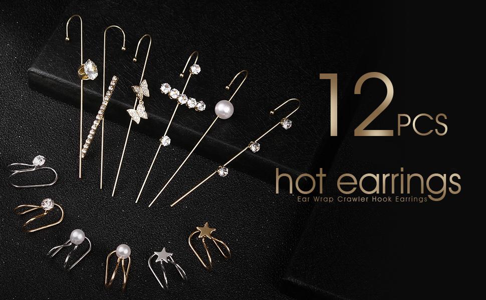 12 pcs ear wrapcrawler hook earrings