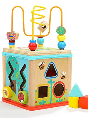 The Top Bright wooden activity cube