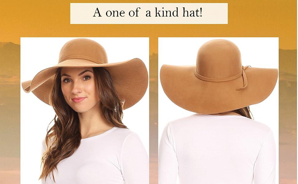 Sakkas EH01EH - Womens 100% Wool Wide Brim Foldable Floppy