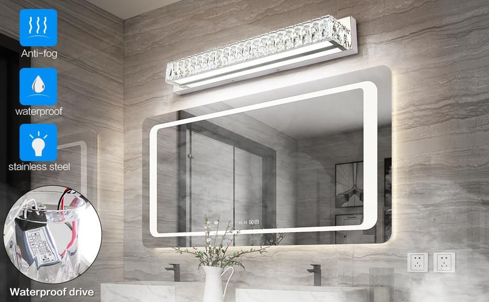 ZUZITO Crystal Bathroom Vanity Lighting Fixtures 7500 Modern LED Vanity Light...