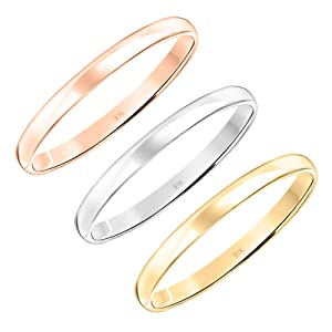 10K Rose, White or Yellow Gold 2MM Classic Plain Simple Wedding Band