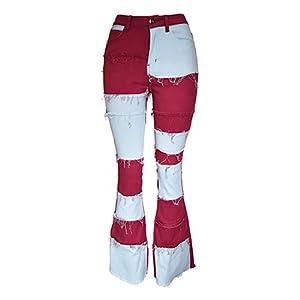 dark red flared jeans