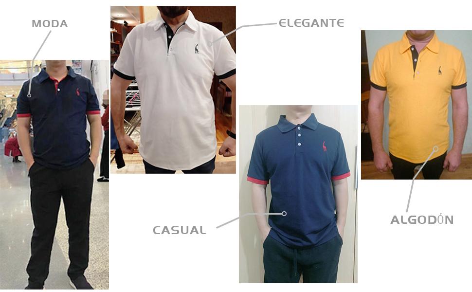 GNRSPTY Hombre Polo de Manga Corta Bordado de Ciervo Deporte Golf Camisa Poloshirt Negocios Camiseta de Tennis Verano T-Shirt