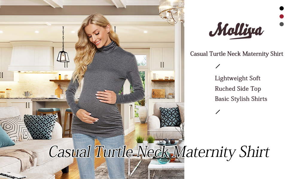 Casual Turtle Neck Maternity Shirt Side Ruched Pregnancy Top